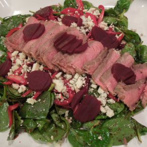 Spinach And Beet Salad With Quick Pickled Onion, Steak And Gorgonzola