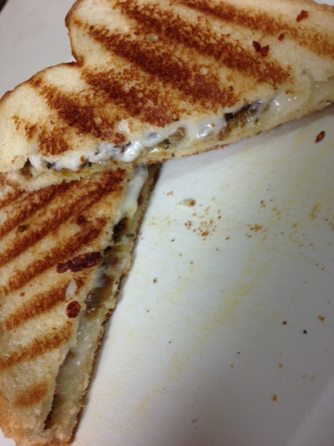 Caramelized Onions, Pesto, And Grilled Mozzarella Sandwich ...