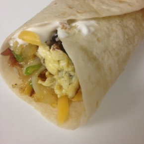 Breakfast Burritos with Peppers, Spinach and Hashbrowns