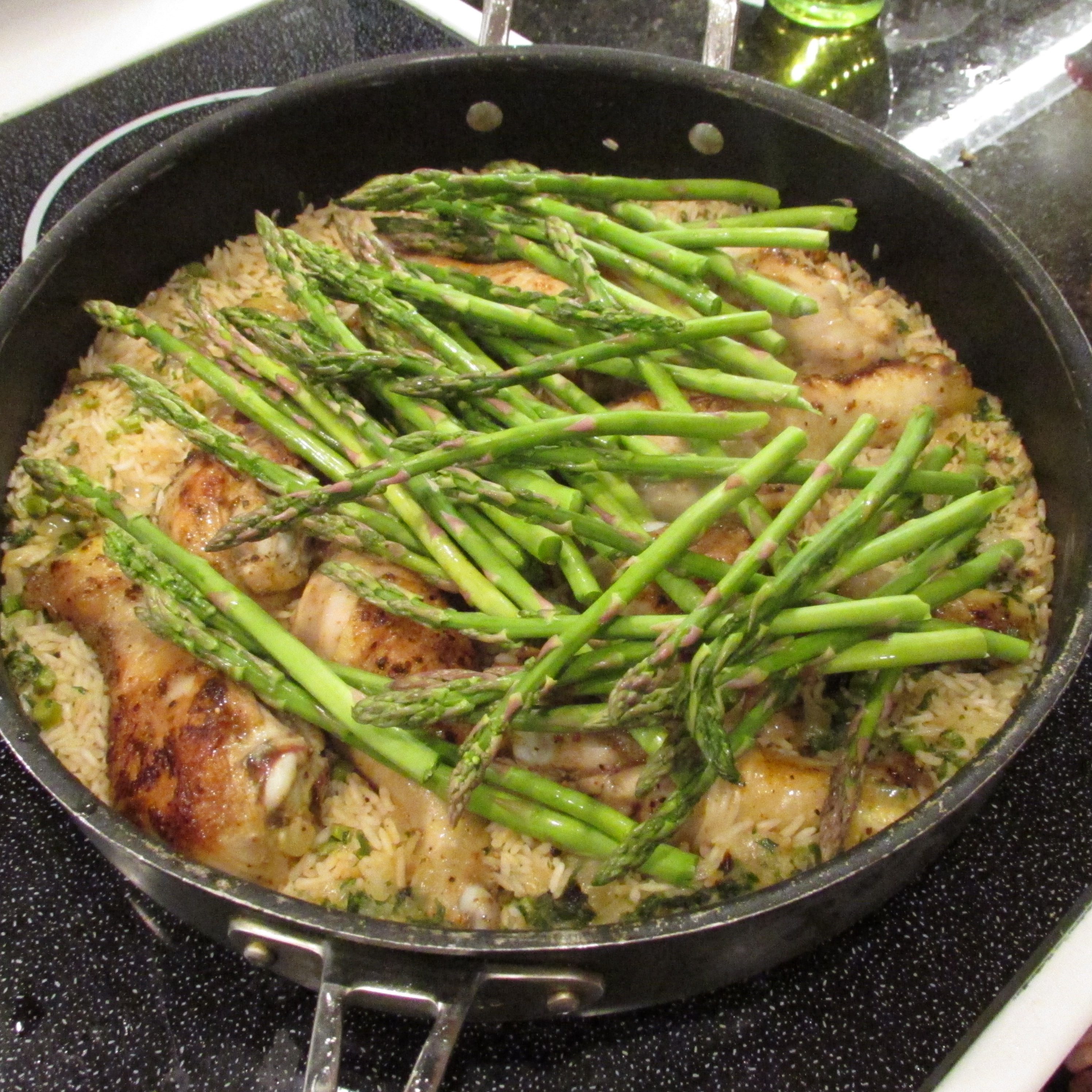 Put Drumsticks Back In Pan, Cover And Cook For Around 40 Minutes During  The Last 10 Minutes Of Cooking, Put Asparagus Tops In Pan And Cover
