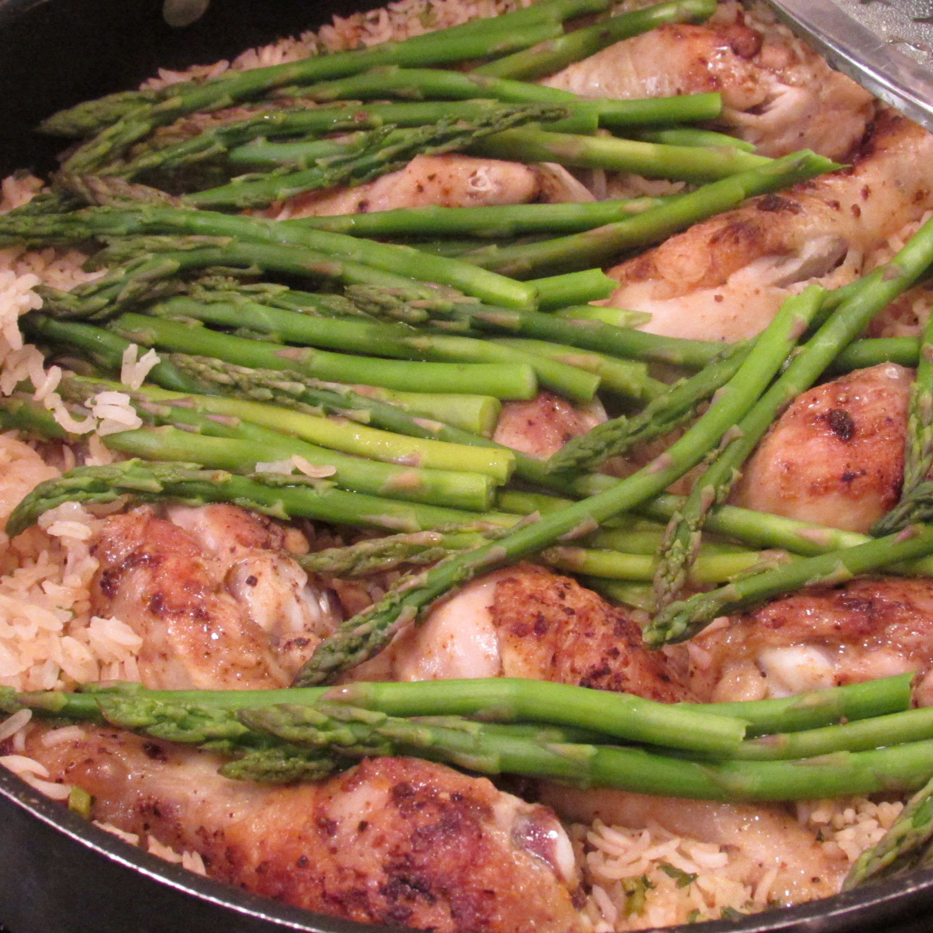 Taste Liquid And Adjust To Taste Put Drumsticks Back In Pan, Cover And Cook  For Around 40 Minutes During The Last 10 Minutes Of Cooking, Put Asparagus