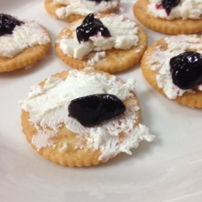 Fast Food Friday: Goat Cheese with Marionberry Jam on Crackers