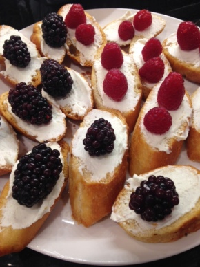 Creamy Goat Cheese and Fresh Berry Crostini