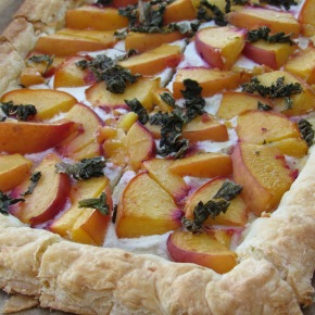 Peach Tart With Honey Goat Cheese Spread and FreshBasil